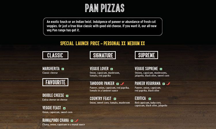 Pizza hut menu